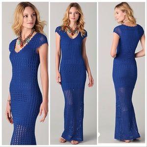 Catherine Malandrino blue crochet maxi dress M